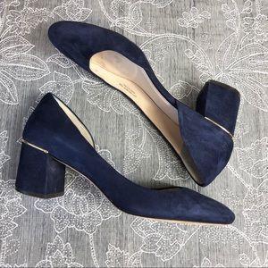Cole Haan Laree Blue suede block heel pump sz 9.5